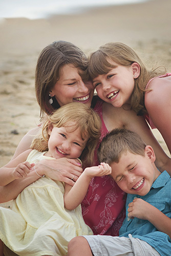 Jen Snyder with her children at the beach