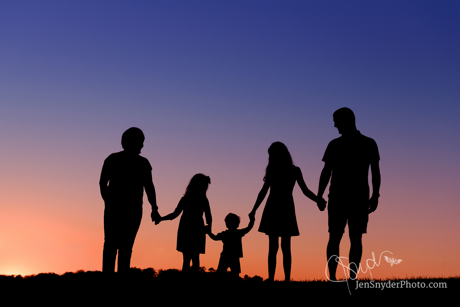 Harford county maryland family photographer, summer sunset silhouette http://www.jensnyderphoto.com