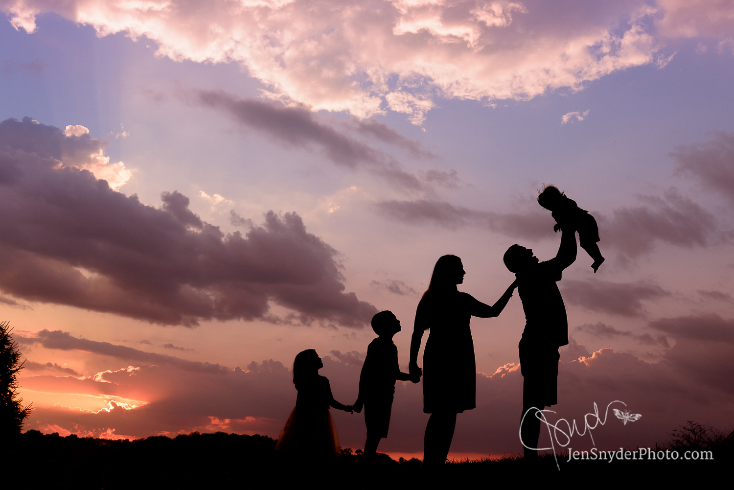 Harford County sunset silhouette family photographer Jen Snyder http://www.jensnyderphoto.com
